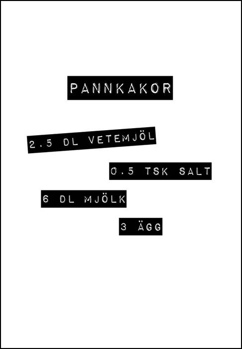 Print med recept på pannkaka, poster, affisch, grafisk, design, present, tavla, tavlor, inredning, heminredning, interiör, interior, ruff & stuff, ruff o stuff, ruffostuff