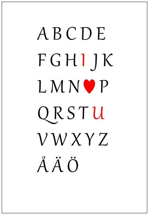 Alfabetet med I love you, print, poster, affisch, design, grafisk, kärlek, förlovning, bröllop, kärleksförklaring, present, tavla, tavlor, inredning, heminredning, interiör, interior, ruff & stuff, ruff o stuff, ruffostuff