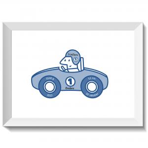 Namntavla med rallybil och förare, blå, namntavlor, doptavla, doptavlor, barntavla, barntavlor, dop, födelse, gåva, present, barnrum, inredning, interior, interiör, grafisk, design, print, poster , tavla, ruff & stuff, ruff o stuff, ruffostuff