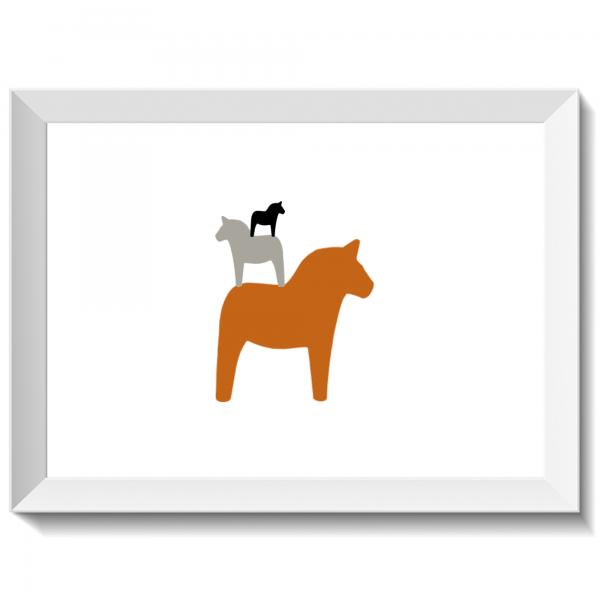 Minipyramid av dalahästar höst, dalahäst, dalahorse, print, poster, affisch, grafisk, design, present, tavla, tavlor, inredning, heminredning, interiör, interior, ruff & stuff, ruff o stuff, ruffostuff