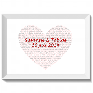 Hjärta med kärleksvisa Det vackraste, print, poster, affisch, design, grafisk, kärlek, förlovning, bröllop, kärleksförklaring, present, tavla, tavlor, inredning, heminredning, interiör, interior, ruff & stuff, ruff o stuff, ruffostuff