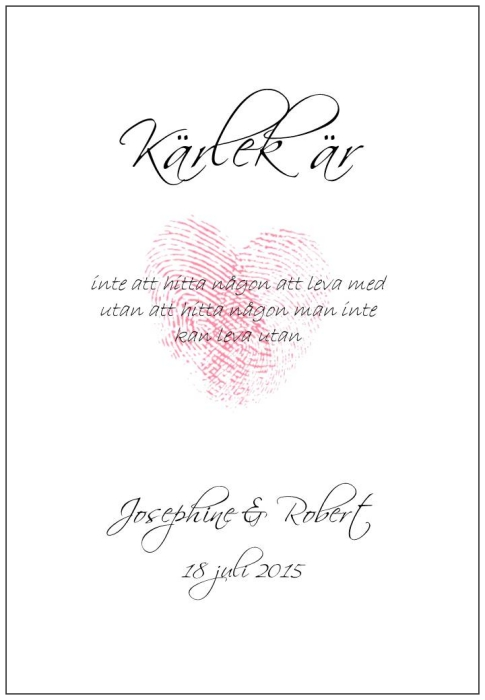 Tavla med två fingeravtryck som formar ett hjärta, print, poster, affisch, design, grafisk, kärlek, förlovning, bröllop, kärleksförklaring, present, tavla, tavlor, inredning, heminredning, interiör, interior, ruff & stuff, ruff o stuff, ruffostuff