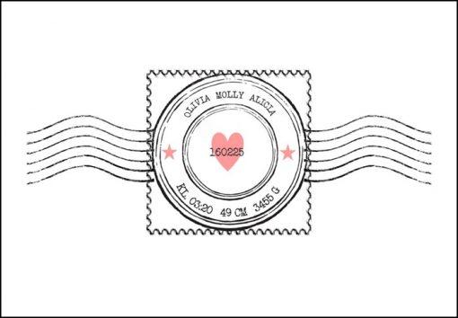 Namntavla med frimärke och hjärta, rosa, namntavlor, doptavla, doptavlor, barntavla, barntavlor, dop, födelse, gåva, present, barnrum, inredning, interior, interiör, grafisk, design, print, poster , tavla, ruff & stuff, ruff o stuff, ruffostuff