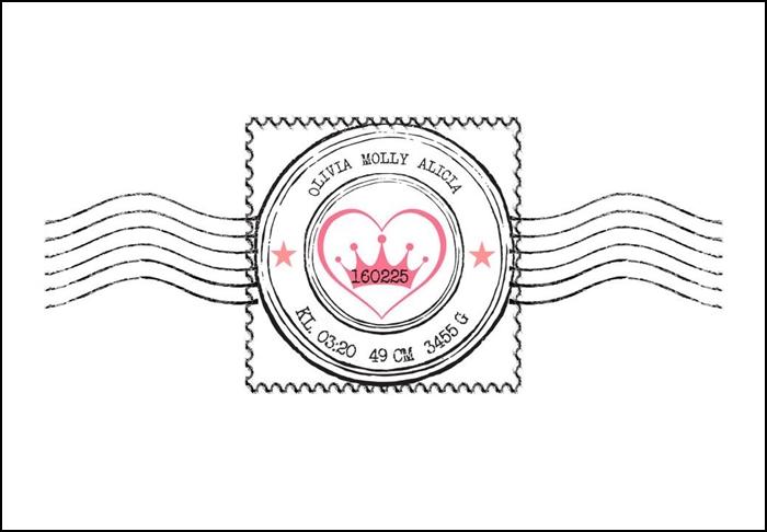 Namntavla med frimärke och krona, rosa, namntavlor, doptavla, doptavlor, barntavla, barntavlor, dop, födelse, gåva, present, barnrum, inredning, interior, interiör, grafisk, design, print, poster , tavla, ruff & stuff, ruff o stuff, ruffostuff