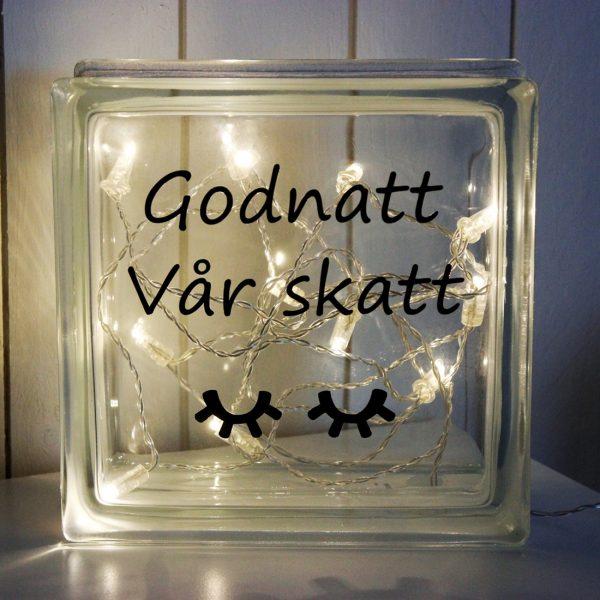 Glasblock Godnatt vår skatt, glascement, glaskub, dop, födelse, gåva, present, barn, inredning, interior, interiör, heminredning, barnrum, ruff & stuff, ruff o stuff, ruffostuff