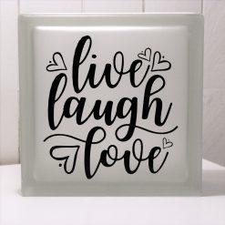 Glasblock Live Laugh Love, glascement, glaskub, home, hem, familj, citat, gåva, present, barn, inredning, interior, interiör, heminredning, barnrum, ruff & stuff, ruff o stuff, ruffostuff