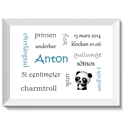 Namntavla Huller om buller tavla med dina unika ord, panda, namntavlor, doptavla, doptavlor, barntavla, barntavlor, dop, födelse, gåva, present, barnrum, inredning, interior, interiör, grafisk, design, print, poster , tavla, ruff & stuff, ruff o stuff, ruffostuff