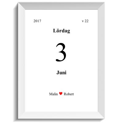 Unikt kalenderblad med kärlek, print, poster, affisch, design, grafisk, kärlek, förlovning, bröllop, kärleksförklaring, present, tavla, tavlor, inredning, heminredning, interiör, interior, ruff & stuff, ruff o stuff, ruffostuff