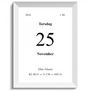 Namntavla ett unikt kalenderblad, namntavlor, doptavla, doptavlor, barntavla, barntavlor, dop, födelse, gåva, present, barnrum, inredning, interior, interiör, grafisk, design, print, poster , tavla, ruff & stuff, ruff o stuff, ruffostuff