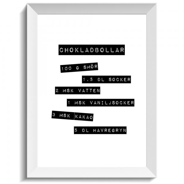 Print med recept på chokladbollar, print, poster, affisch, grafisk, design, present, tavla, tavlor, inredning, heminredning, interiör, interior, ruff & stuff, ruff o stuff, ruffostuff