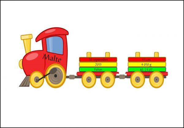 Namntavla med färgglatt tuff tuff tåg, namntavlor, doptavla, doptavlor, barntavla, barntavlor, dop, födelse, gåva, present, barnrum, inredning, interior, interiör, grafisk, design, print, poster , tavla, ruff & stuff, ruff o stuff, ruffostuff