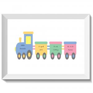 Namntavla med tuff tuff tåg i pastell, namntavla, namntavlor, doptavla, doptavlor, barntavla, barntavlor, dop, födelse, gåva, present, barnrum, inredning, interior, interiör, grafisk, design, print, poster , tavla, ruff & stuff, ruff o stuff, ruffostuff