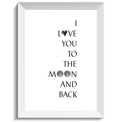 To the moon and back, print, poster, affisch, design, grafisk, kärlek, förlovning, bröllop, kärleksförklaring, present, tavla, tavlor, inredning, heminredning, interiör, interior, ruff & stuff, ruff o stuff, ruffostuff