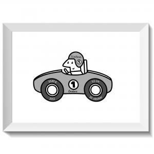 Namntavla med rallybil och förare, grå, namntavlor, doptavla, doptavlor, barntavla, barntavlor, dop, födelse, gåva, present, barnrum, inredning, interior, interiör, grafisk, design, print, poster , tavla, ruff & stuff, ruff o stuff, ruffostuff