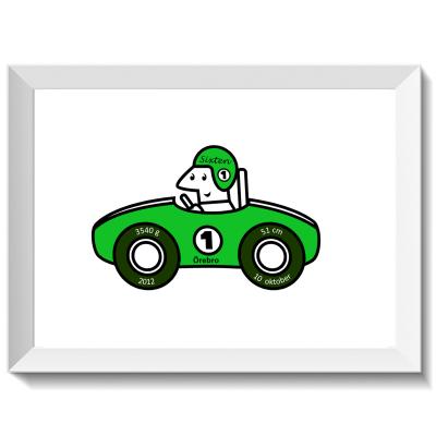 Namntavla med rallybil och förare, grön, namntavlor, doptavla, doptavlor, barntavla, barntavlor, dop, födelse, gåva, present, barnrum, inredning, interior, interiör, grafisk, design, print, poster , tavla, ruff & stuff, ruff o stuff, ruffostuff
