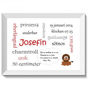 Namntavla Huller om buller tavla med dina unika ord, lejon, namntavlor, doptavla, doptavlor, barntavla, barntavlor, dop, födelse, gåva, present, barnrum, inredning, interior, interiör, grafisk, design, print, poster , tavla, ruff & stuff, ruff o stuff, ruffostuff