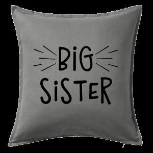 Kuddfodral Big sister, dop, födelsedag, present, gåva, dopgåva, doppresent, textiltryck, htv, tryck, textil, kudde, kläder, vinyl, dekal, ruff & stuff, ruff o stuff, ruffostuff, fri frakt, fraktfritt