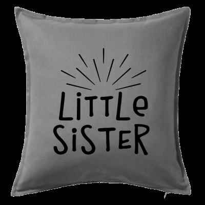 Kuddfodral Little sister, dop, födelsedag, present, gåva, dopgåva, doppresent, textiltryck, htv, tryck, textil, kudde, kläder, vinyl, dekal, ruff & stuff, ruff o stuff, ruffostuff, fri frakt, fraktfritt
