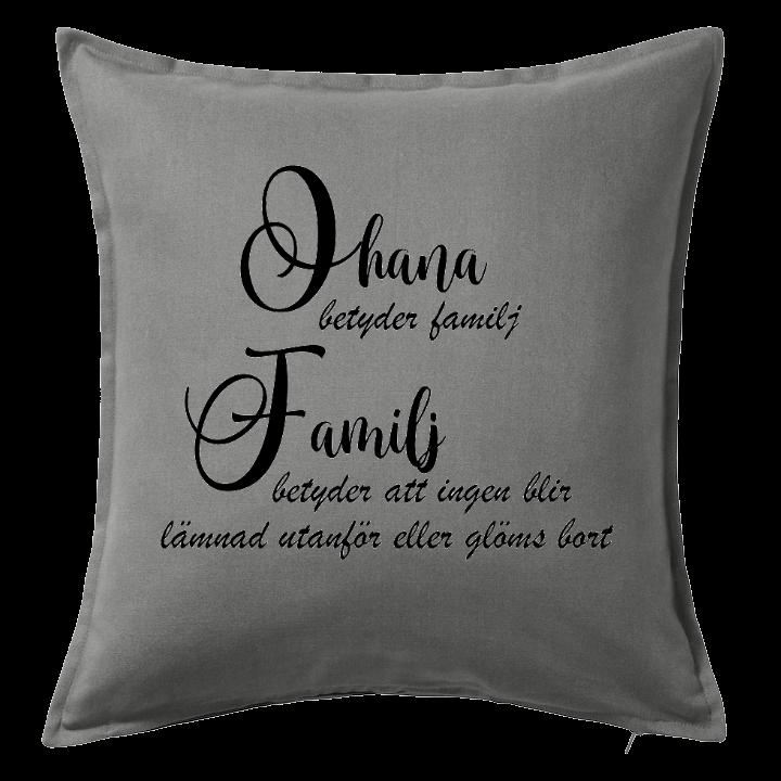Kuddfodral Ohana betyder familj, dop, födelsedag, present, gåva, dopgåva, doppresent, textiltryck, htv, tryck, textil, kudde, kläder, vinyl, dekal, ruff & stuff, ruff o stuff, ruffostuff, fri frakt, fraktfritt