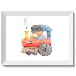 Namntavla med björn som kör tåg, namntavlor, doptavla, doptavlor, barntavla, barntavlor, dop, födelse, gåva, present, barnrum, inredning, interior, interiör, grafisk, design, print, poster , tavla, ruff & stuff, ruff o stuff, ruffostuff