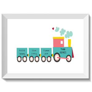 Namntavla med tuffande tåg, namntavlor, doptavla, doptavlor, barntavla, barntavlor, dop, födelse, gåva, present, barnrum, inredning, interior, interiör, grafisk, design, print, poster , tavla, ruff & stuff, ruff o stuff, ruffostuff