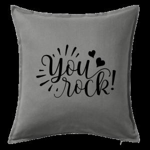 Kuddfodral You rock, dop, födelsedag, present, gåva, dopgåva, doppresent, textiltryck, htv, tryck, textil, kudde, kläder, vinyl, dekal, heminredning, inredning, interiör, interior, ruff & stuff, ruff o stuff, ruffostuff